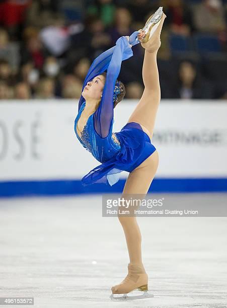 Kanako Murakami of Japan skates while competing in the Ladies Free Skate on day two of Skate Canada International ISU Grand Prix of Figure Skating...