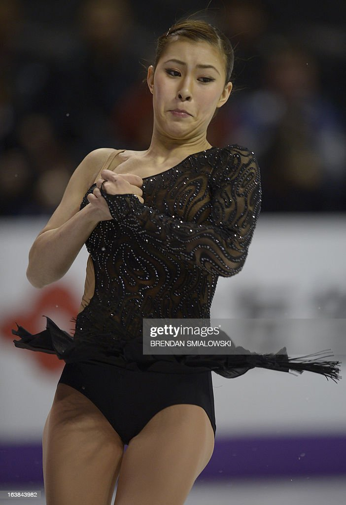 Kanako Murakami, representing Japan, performs in the free program women's competition at the 2013 World Figure Skating Championships in London, Ontario, March 16, 2013. AFP PHOTO/Brendan SMIALOWSKI