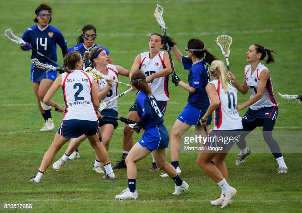 Kanako Sato of Japan catches the ball during the Lacrosse Women's match between Great Britain and Japan of The World Games at Olawka Stadium on July...