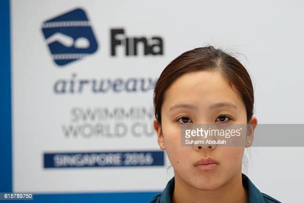 Kanako Watanabe of Japan attends the International Swim Stars Meet and Greet at Kallang Wave Mall Atrium ahead of the FINA Swimming World Cup n...