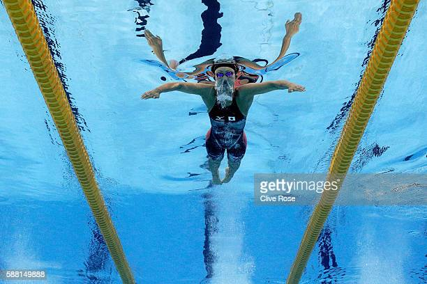 Kanako Watanabe of Japan competes in the Women's 200m Breaststroke heat on Day 5 of the Rio 2016 Olympic Games at the Olympic Aquatics Stadium on...