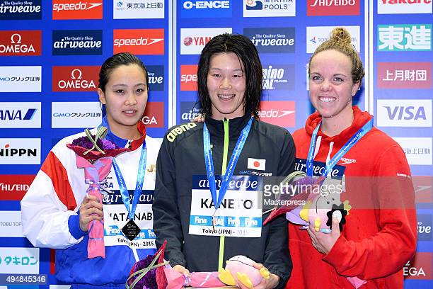 Kanako Watanabe of JapanRie Kaneto of Japan and Kierra Smith of Canada pose on the podium after the Women's 200m Breaststroke final during the FINA...