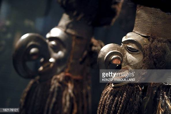 Kanaks masks from New Caledonia and dating from 19th century are displayed during the exhibition entitled 'The art of Hair frivolities and trophies'...