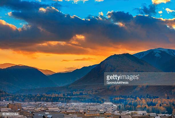 Kanas Hemu village at Sunset, Xinjiang, China