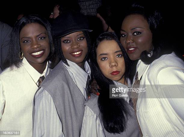 Kandi Burress LaTocha Scott Tiny and Tamika Scott of Xscape attend the world premiere of 'The Mask' on July 28 1994 at the Academy Theater in Beverly...