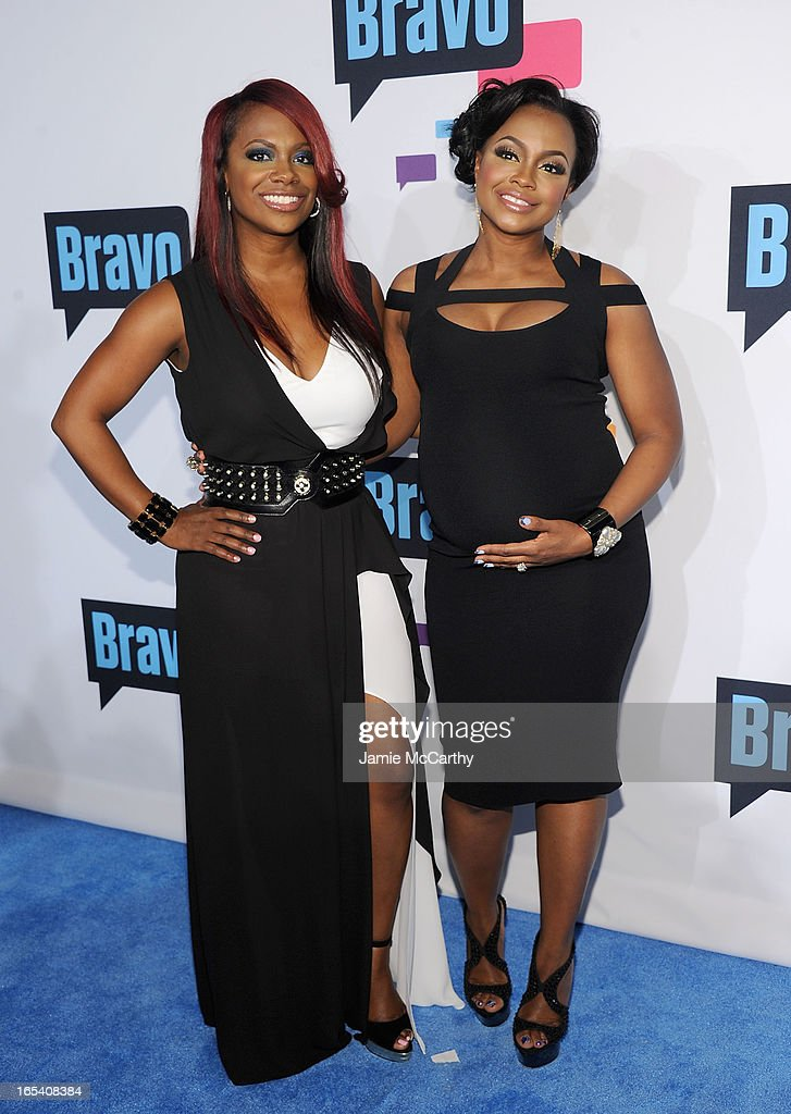 Kandi Burruss and Phaedra Parks of 'The Real Housewives Atlanta' attend the 2013 Bravo New York Upfront at Pillars 37 Studios on April 3, 2013 in New York City.