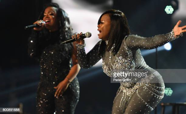 Kandi Burruss and Tamika Scott of Xscape perform onstage at 2017 BET Awards at Microsoft Theater on June 25 2017 in Los Angeles California