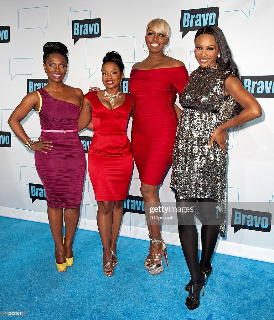 Kandi Burruss, Phaedra Parks, NeNe Leakes, and Cynthia Bailey of The Real Housewives of Atlanta attend Bravo Upfront 2012 at Center 548 on April 4, 2012 in New York City.