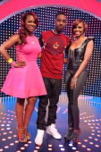 Kandi Burruss Shorty Da Prince and Ms Mykie visit BET's '106 Park' at BET Studios on May 1 2013 in New York City