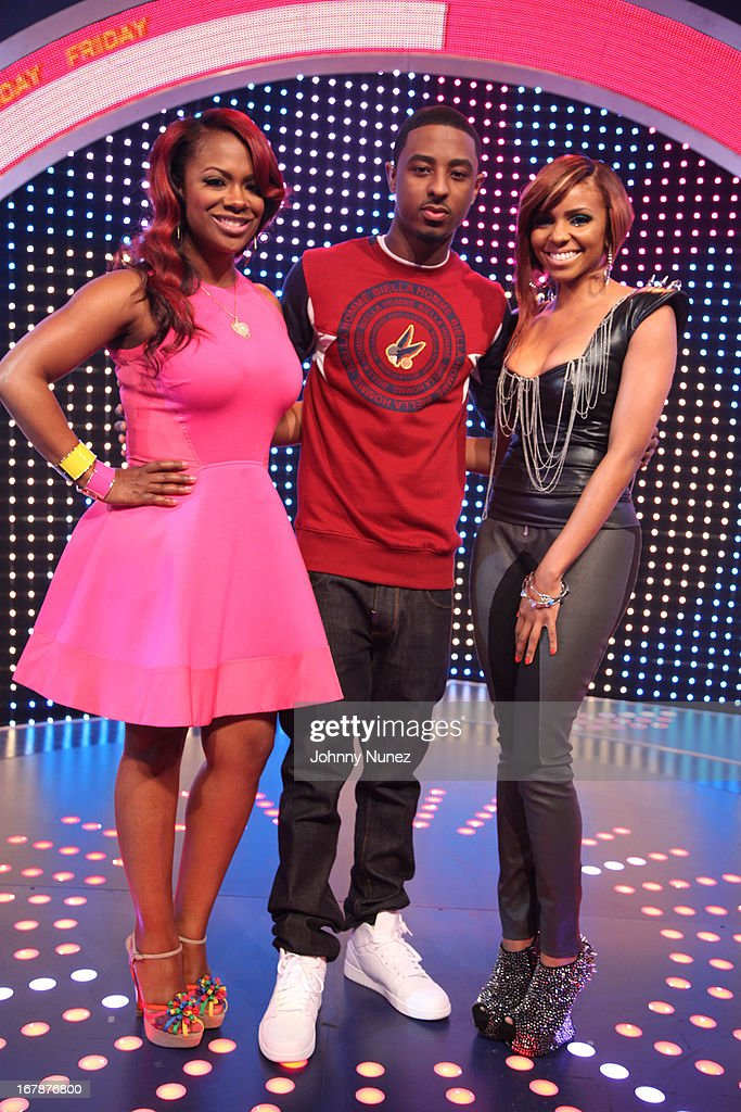 <a gi-track='captionPersonalityLinkClicked' href=/galleries/search?phrase=Kandi+Burruss&family=editorial&specificpeople=4401257 ng-click='$event.stopPropagation()'>Kandi Burruss</a>, <a gi-track='captionPersonalityLinkClicked' href=/galleries/search?phrase=Shorty+Da+Prince&family=editorial&specificpeople=9784723 ng-click='$event.stopPropagation()'>Shorty Da Prince</a> and Ms Mykie visit BET's '106 & Park' at BET Studios on May 1, 2013 in New York City.