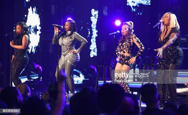 Kandi Burruss Tamika Scott Tameka Cottle and LaTocha Scott of Xscape onstage at 2017 BET Awards at Microsoft Theater on June 25 2017 in Los Angeles...
