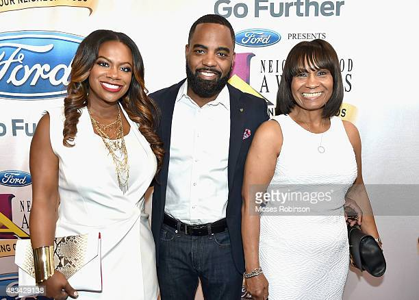 Kandi Burruss Todd Tucker and Joyce Burruss attend the 2015 Ford Neighborhood Awards Hosted By Steve Harvey at Phillips Arena on August 8 2015 in...