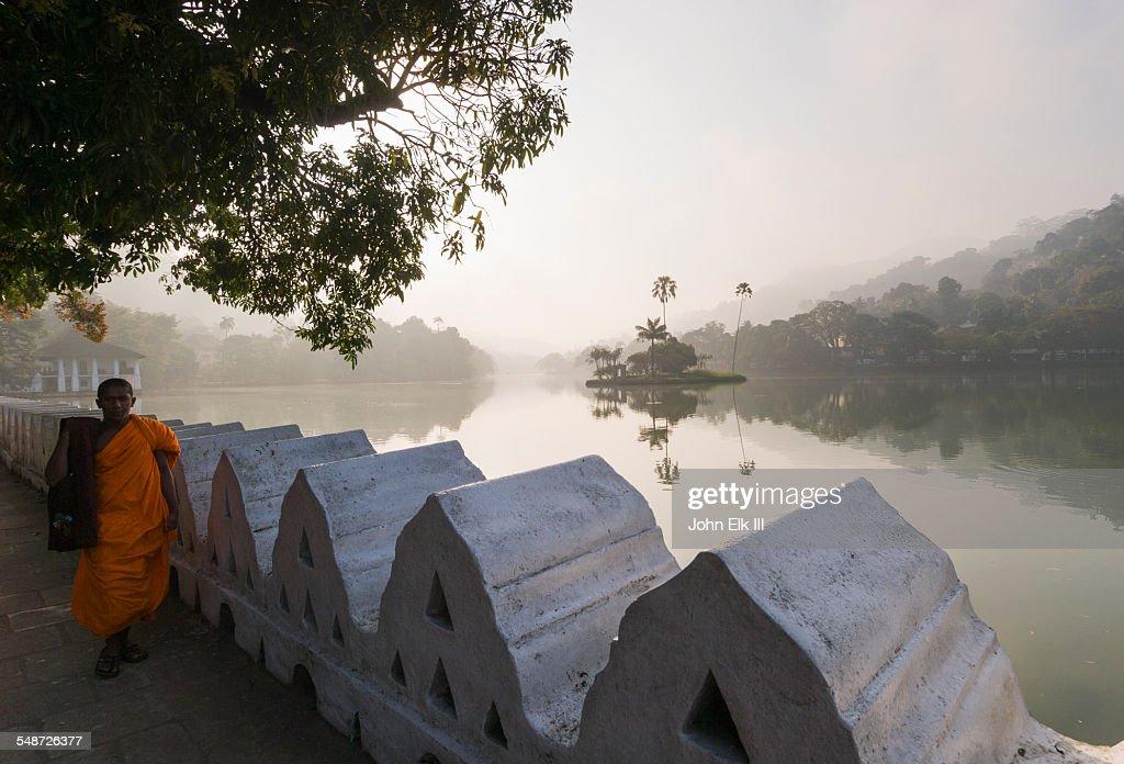 Kandy Lake with monk