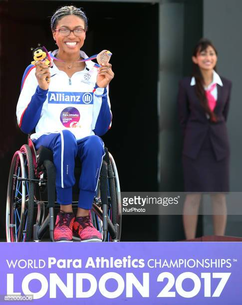 Kane Adenegan of Great Britain with her bronze medal Women's 400m T34 during World Para Athletics Championships at London Stadium in London on July...