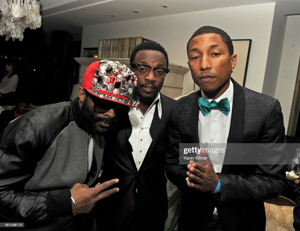 E.D. Kane, Anthony Hamilton and Pharrell Williams attend the Maroon 5 Grammy After Party & Adam Levine Fragrance Launch Event on February 10, 2013 in West Hollywood, California.