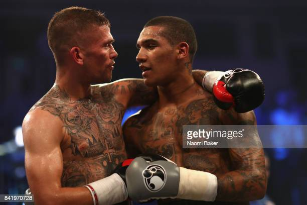 Kane Baker and Conor Benn congratulate each other after the JDNXTGEN Boxing Series at York Hall on September 1 2017 in London England
