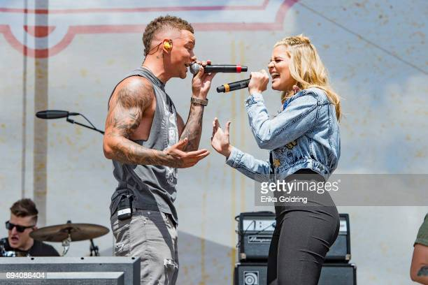 Kane Brown and Lauren Alaina perform during the 2017 CMA Music Festival on June 8 2017 in Nashville Tennessee