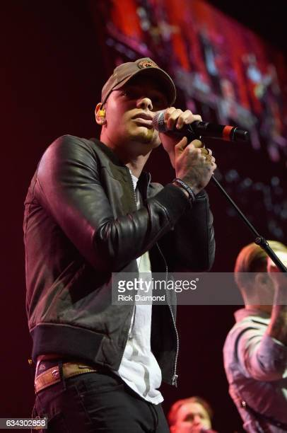 Kane Brown performs during 1 Night 1 Place 1 Time A Heroes Friends Tribute to Randy Travis at Bridgestone Arena on February 8 2017 in Nashville...