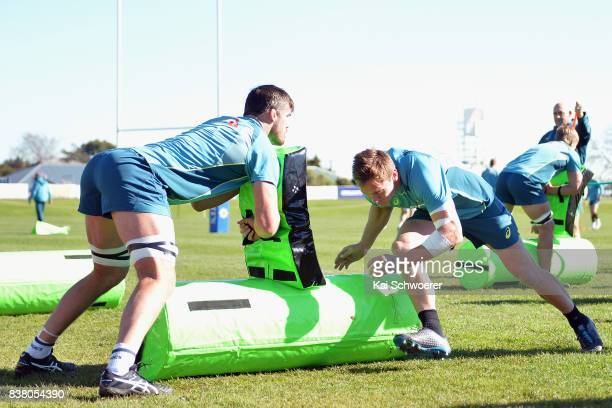 Kane Douglas and Dane HaylettPetty undertake a training drill during an Australian Wallabies training session at Linwood Rugby Club on August 24 2017...
