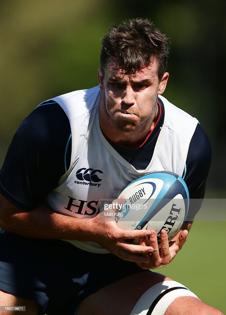 Kane Douglas runs with the ball during a Waratahs Super Rugby training session at Moore Park on April 2, 2013 in Sydney, Australia.