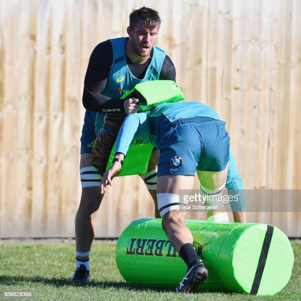Kane Douglas undertakes a training drill during an Australian Wallabies training session at Linwood Rugby Club on August 22 2017 in Christchurch New...
