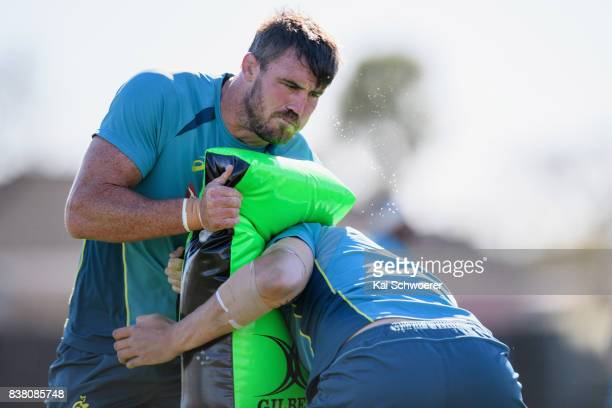 Kane Douglas undertakes a training drill during an Australian Wallabies training session at Linwood Rugby Club on August 24 2017 in Christchurch New...