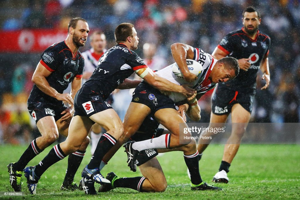 Kane Evans of the Roosters charges forward during the round nine NRL match between the New Zealand Warriors and the Sydney Roosters at Mt Smart Stadium on April 30, 2017 in Auckland, New Zealand.