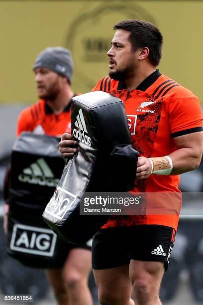 Kane Hames of the All Blacks looks on during a New Zealand All Blacks Training Session on August 22 2017 in Dunedin New Zealand
