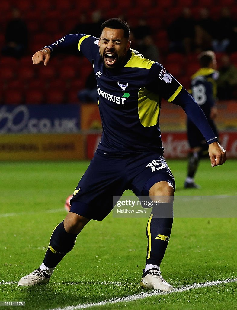 Kane Hemmings of Oxford United celebrates scoring his teams third goal during The Emirates FA Cup Third Round match between Rotherham United and Oxford United at The New York Stadium on January 7, 2017 in Rotherham, England.