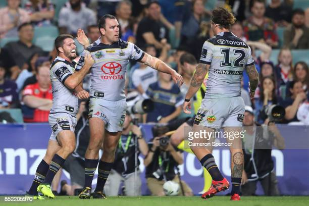 Kane Linnett of the Cowboys celebrates scoring a try during the NRL Preliminary Final match between the Sydney Roosters and the North Queensland...