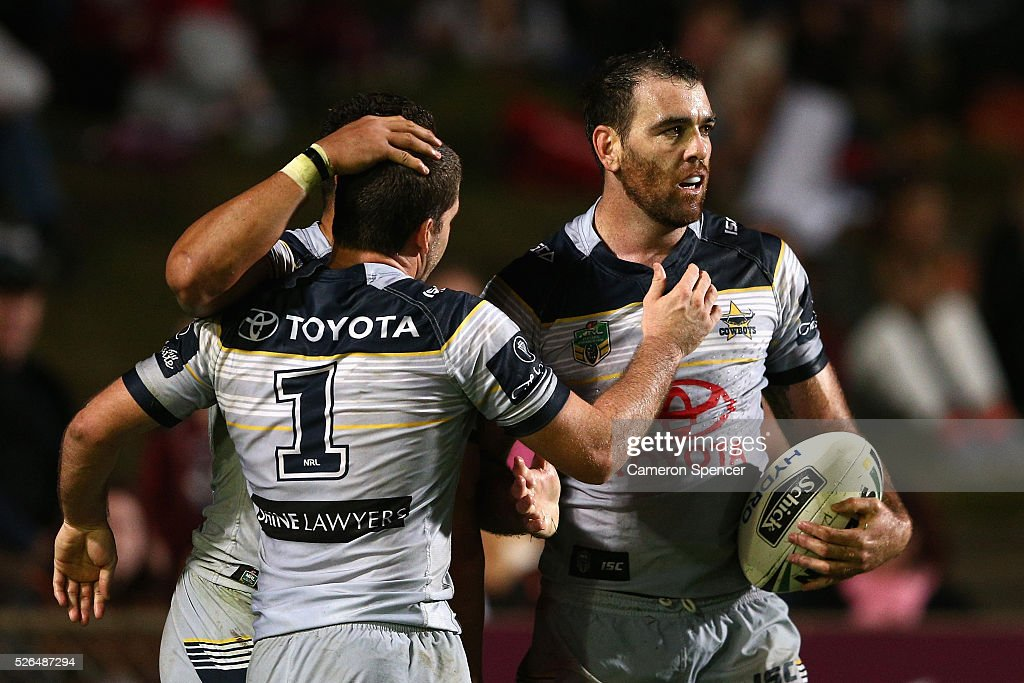 Kane Linnett of the Cowboys celebrates scoring a try during the round nine NRL match between the Manly Sea Eagles and the North Queensland Cowboys at Brookvale Oval on April 30, 2016 in Sydney, Australia.