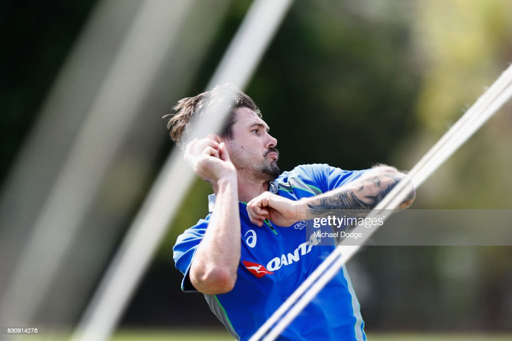 Kane Richardson bowls during an Australia Test cricket squad training session at Marrara Cricket Ground on August 13, 2017 in Darwin, Australia.