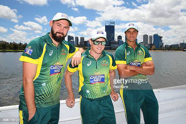 Kane Richardson George Bailey and Nathan CoulterNile pose onboard during Blue Destiny during the Australia v South Africa One Day International...