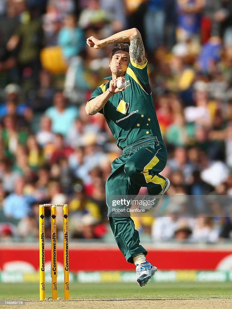 Kane Richardson of Australia bowls during game two of the Commonwealth Bank One Day International series between Australia and Sri Lanka at Adelaide Oval on January 13, 2013 in Adelaide, Australia.