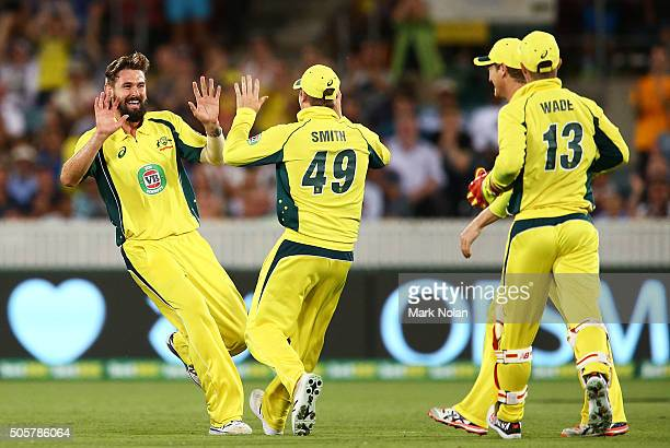 Kane Richardson of Australia celebrates a wicket during the Victoria Bitter One Day International match between Australia and India at Manuka Oval on...