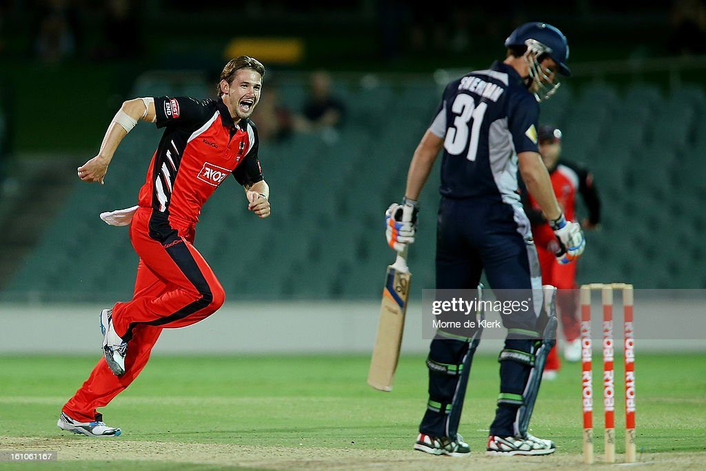 Kane Richardson (L) of the Redbacks celebrates after getting his fifth wicket during the Ryobi One Cup Day match between the South Australian Redbacks and the Victorian Bushrangers at Adelaide Oval on February 9, 2013 in Adelaide, Australia.