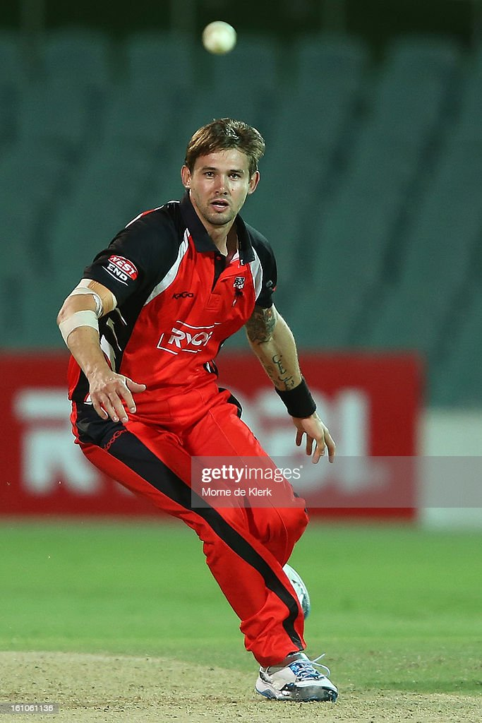 Kane Richardson of the Redbacks fields during the Ryobi One Cup Day match between the South Australian Redbacks and the Victorian Bushrangers at Adelaide Oval on February 9, 2013 in Adelaide, Australia.