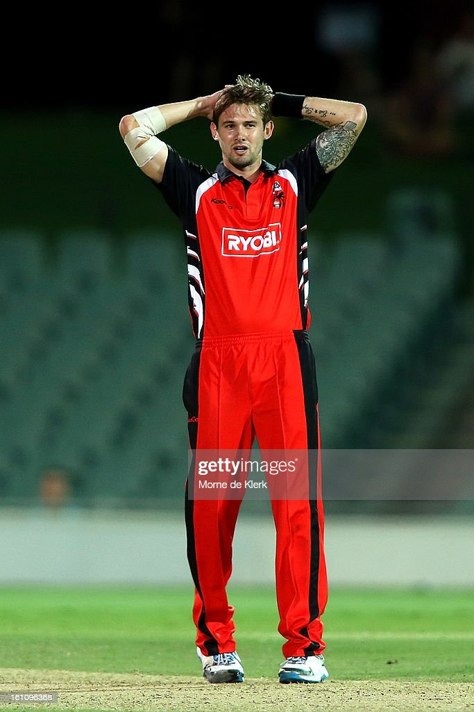 Kane Richardson of the Redbacks reacts during the Ryobi One Cup Day match between the South Australian Redbacks and the Victorian Bushrangers at Adelaide Oval on February 9, 2013 in Adelaide, Australia.