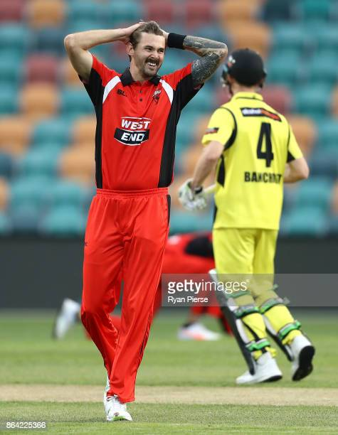 Kane Richardson of the Redbacks reacts whie bowling during the JLT One Day Cup Final match between Western Australia and South Australia at...