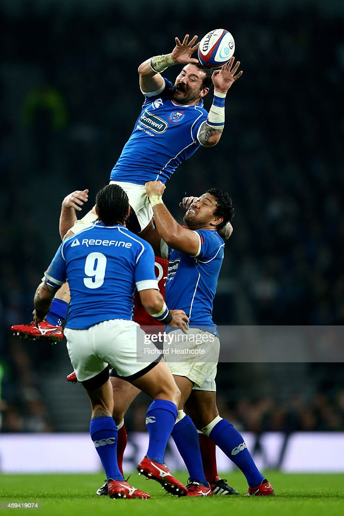 Kane Thompson of Samoa wins the lineout ball during the QBE international match between England and Samoa at Twickenham Stadium on November 22 2014...