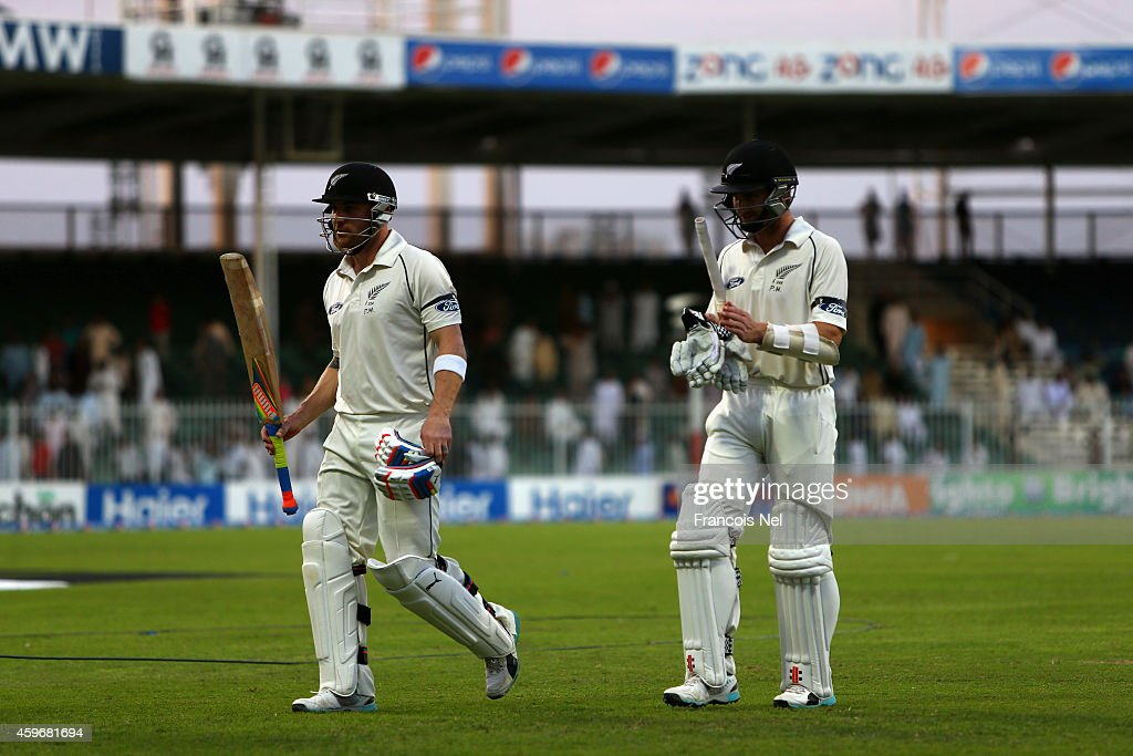 Kane Williamson and Brendon McCullum leave the field at the end of play during day two of the third test between Pakistan and New Zealand at Sharjah Stadium on November 28, 2014 in Sharjah, United Arab Emirates.
