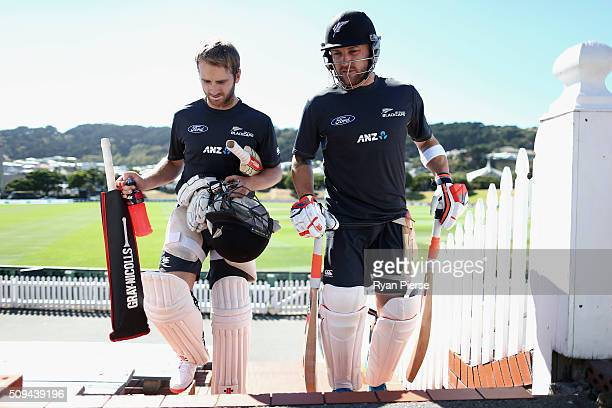 Kane Williamson and Brendon McCullum of New Zealand walk to the nets during a New Zealand nets session at Basin Reserve on February 11 2016 in...