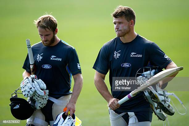 Kane Williamson and Corey Anderson of New Zealand arrive for a New Zealand Black Caps training session at Eden Park on February 25 2015 in Auckland...