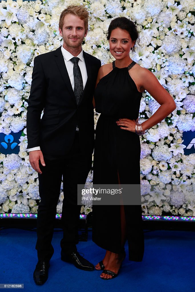 <a gi-track='captionPersonalityLinkClicked' href=/galleries/search?phrase=Kane+Williamson&family=editorial&specificpeople=4738503 ng-click='$event.stopPropagation()'>Kane Williamson</a> (L) and Sarah Raheem (R) pose ahead of the 2016 New Zealand cricket awards at the Viaduct Events Centre on February 25, 2016 in Auckland, New Zealand.