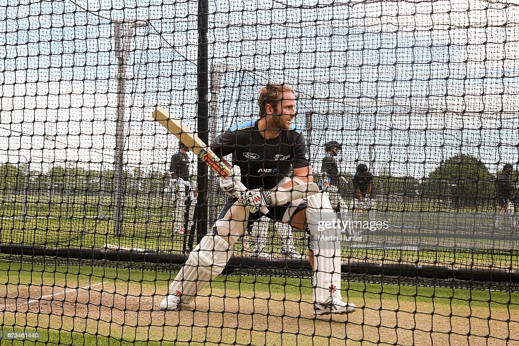 Kane Williamson, captain of New Zealnd bats during a New Zealand nets session at Hagley Oval on November 16, 2016 in Christchurch, New Zealand.