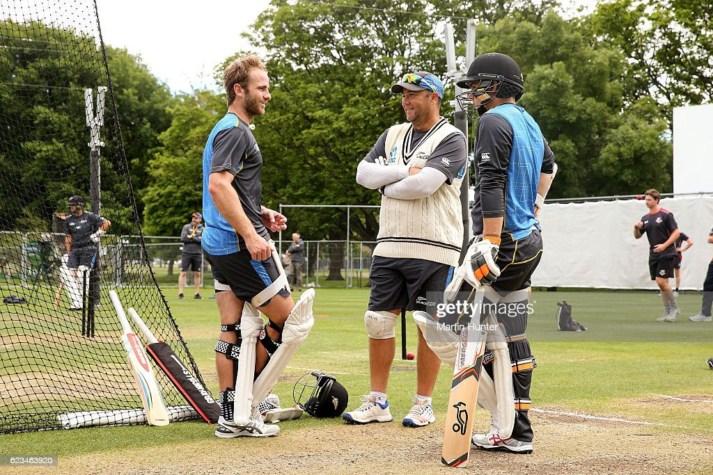 Kane Williamson, Craig McMillan and Tom Latham of New Zealand talk during a New Zealand nets session at Hagley Oval on November 16, 2016 in Christchurch, New Zealand.