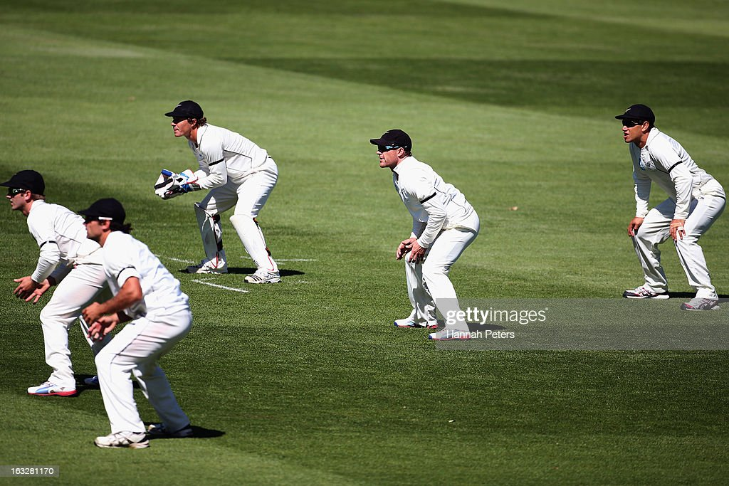 Kane Williamson, Dean Brownlie, BJ Watling, Brendon McCullum and Ross Taylor field in the slips during day two of the First Test match between New Zealand and England at University Oval on March 7, 2013 in Dunedin, New Zealand.