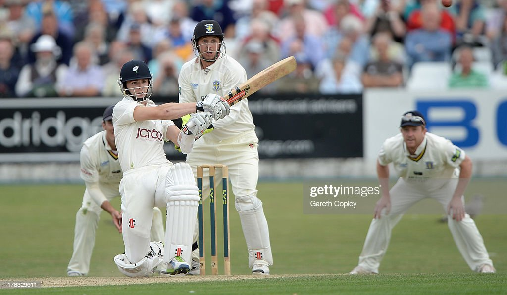 <a gi-track='captionPersonalityLinkClicked' href=/galleries/search?phrase=Kane+Williamson&family=editorial&specificpeople=4738503 ng-click='$event.stopPropagation()'>Kane Williamson</a> of Durham bats during the LV County Championship division one match between Yorkshire and Durham at North Marine Road on August 29, 2013 in Scarborough, England.