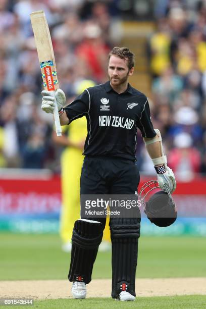 Kane Williamson of New Zealand acknowledges the crowds applause after reaching his century during the ICC Champions Trophy match between Australia...