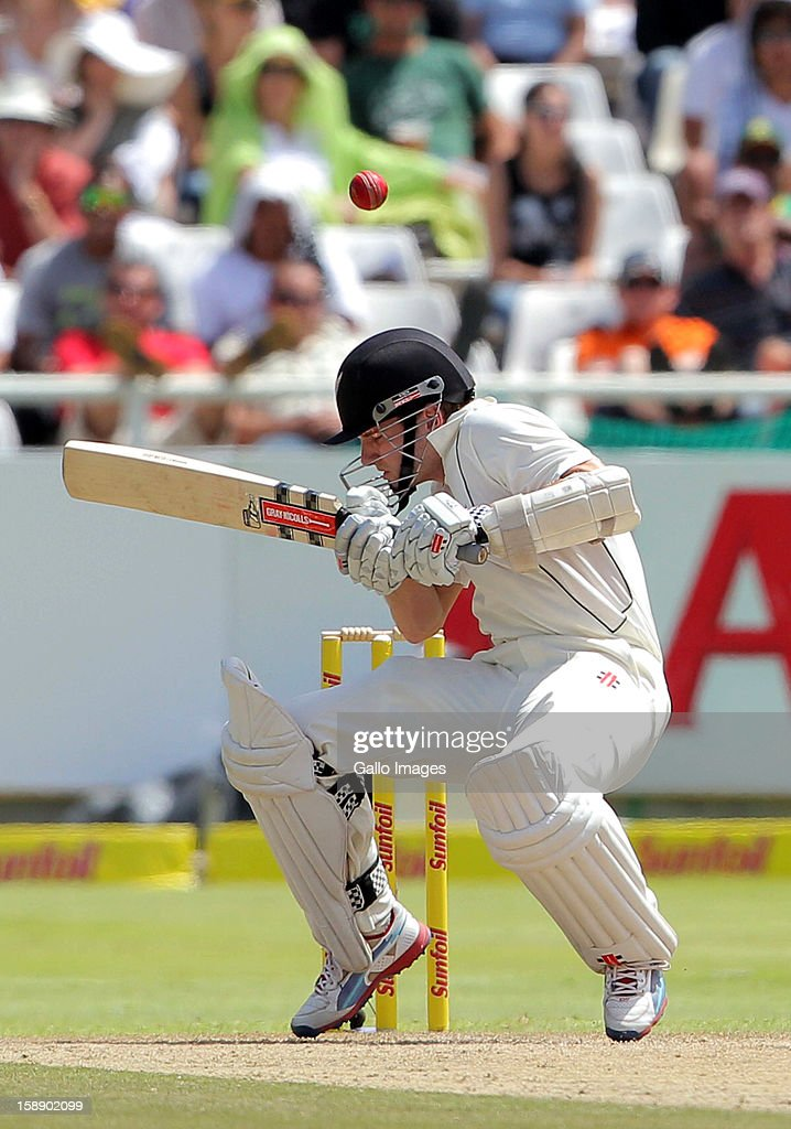 <a gi-track='captionPersonalityLinkClicked' href=/galleries/search?phrase=Kane+Williamson&family=editorial&specificpeople=4738503 ng-click='$event.stopPropagation()'>Kane Williamson</a> of New Zealand attempts to evade a ball during day 2 of the 1st Test between South Africa and New Zealand at Sahara Park Newlands on January 03, 2013 in Cape Town, South Africa.